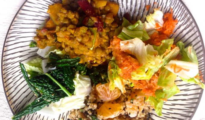 Macrobiotic Tuition Bean dish and salad Chi Energy